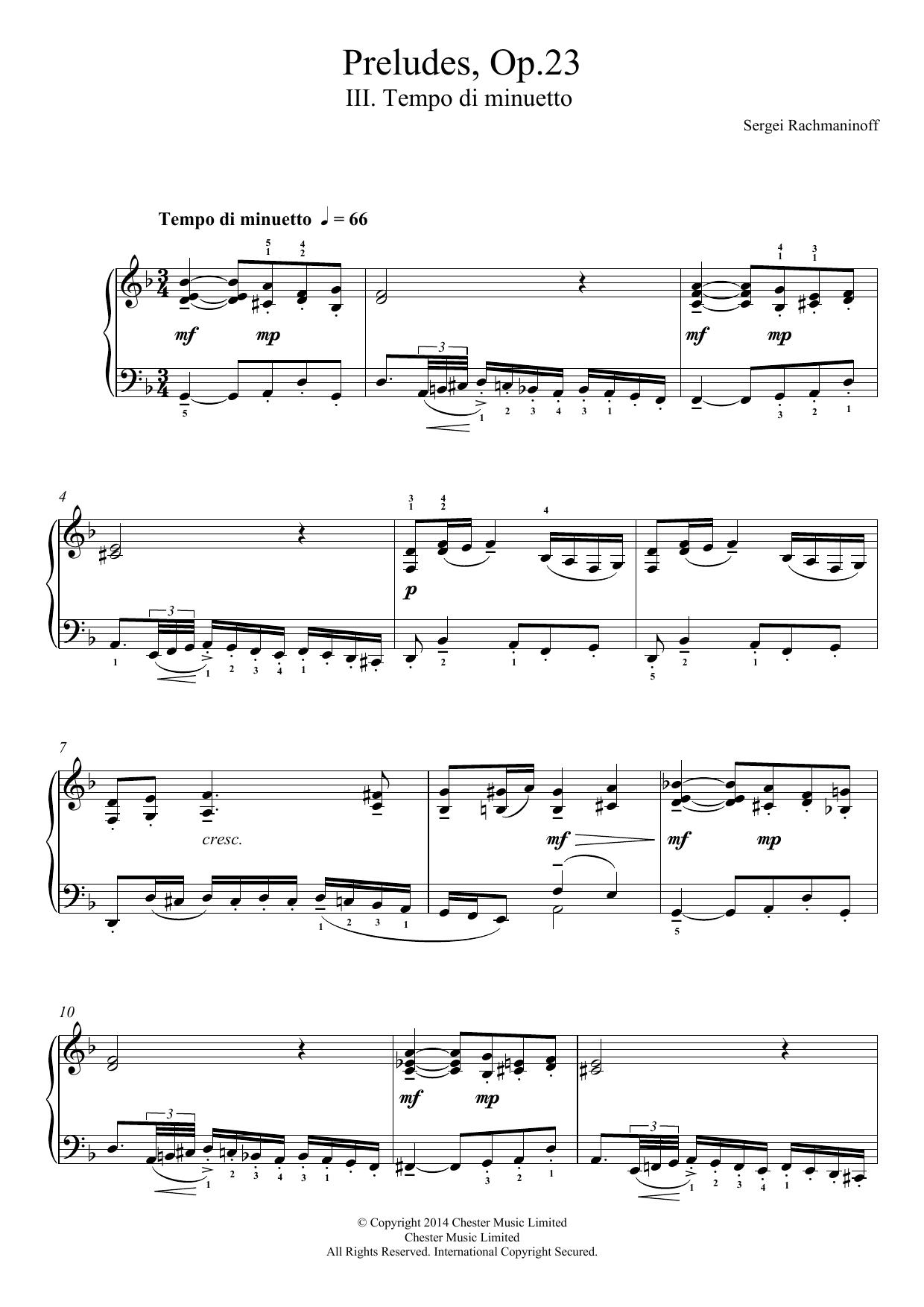 Sergei Rachmaninoff - Preludes Op.23, No.3 Tempo di minuetto