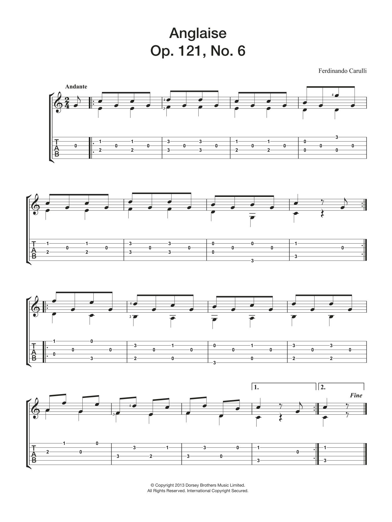 Ferdinando Carulli - Anglaise Op. 121, No. 6