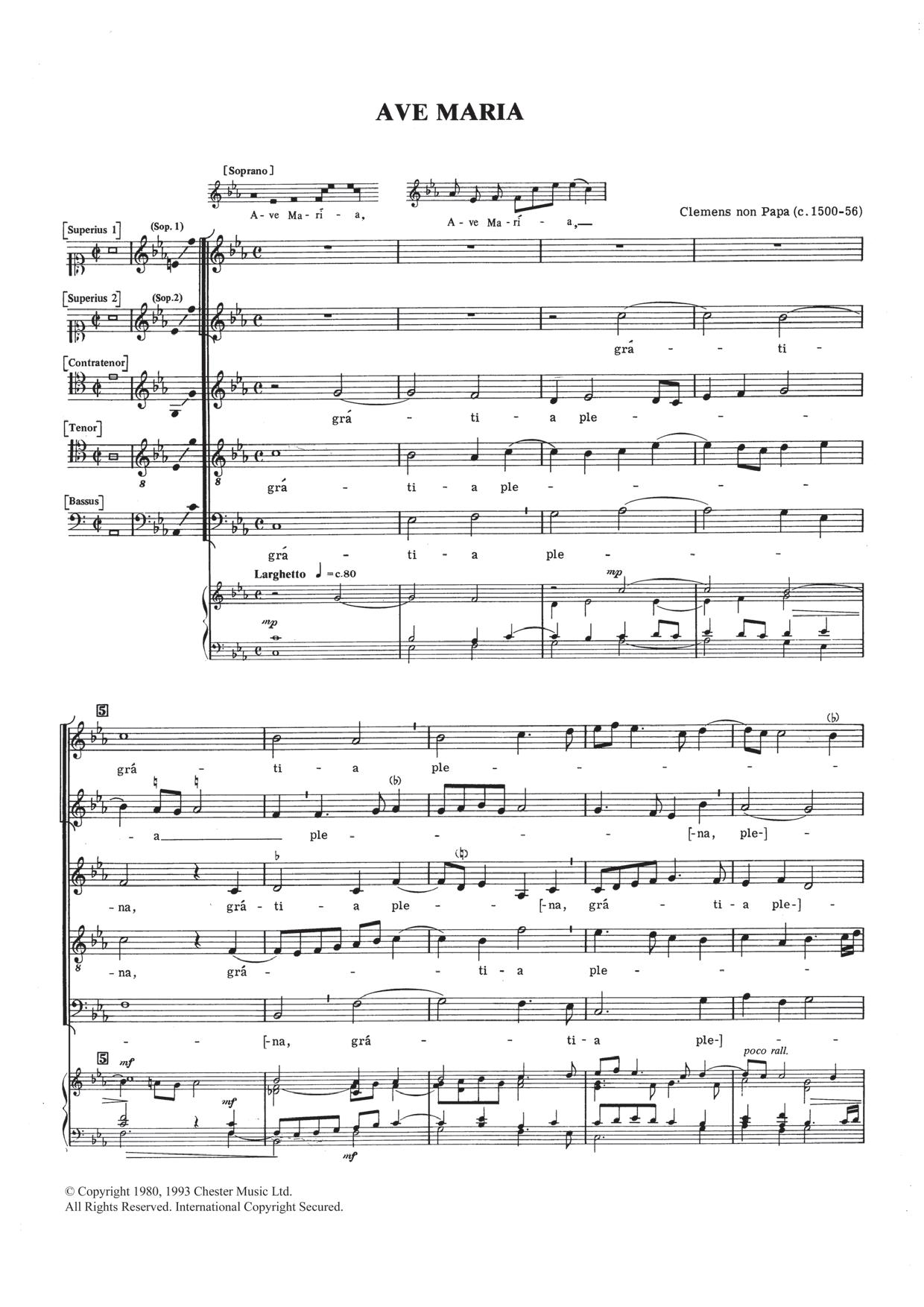 Jacob Clemens Non Papa - Ave Maria