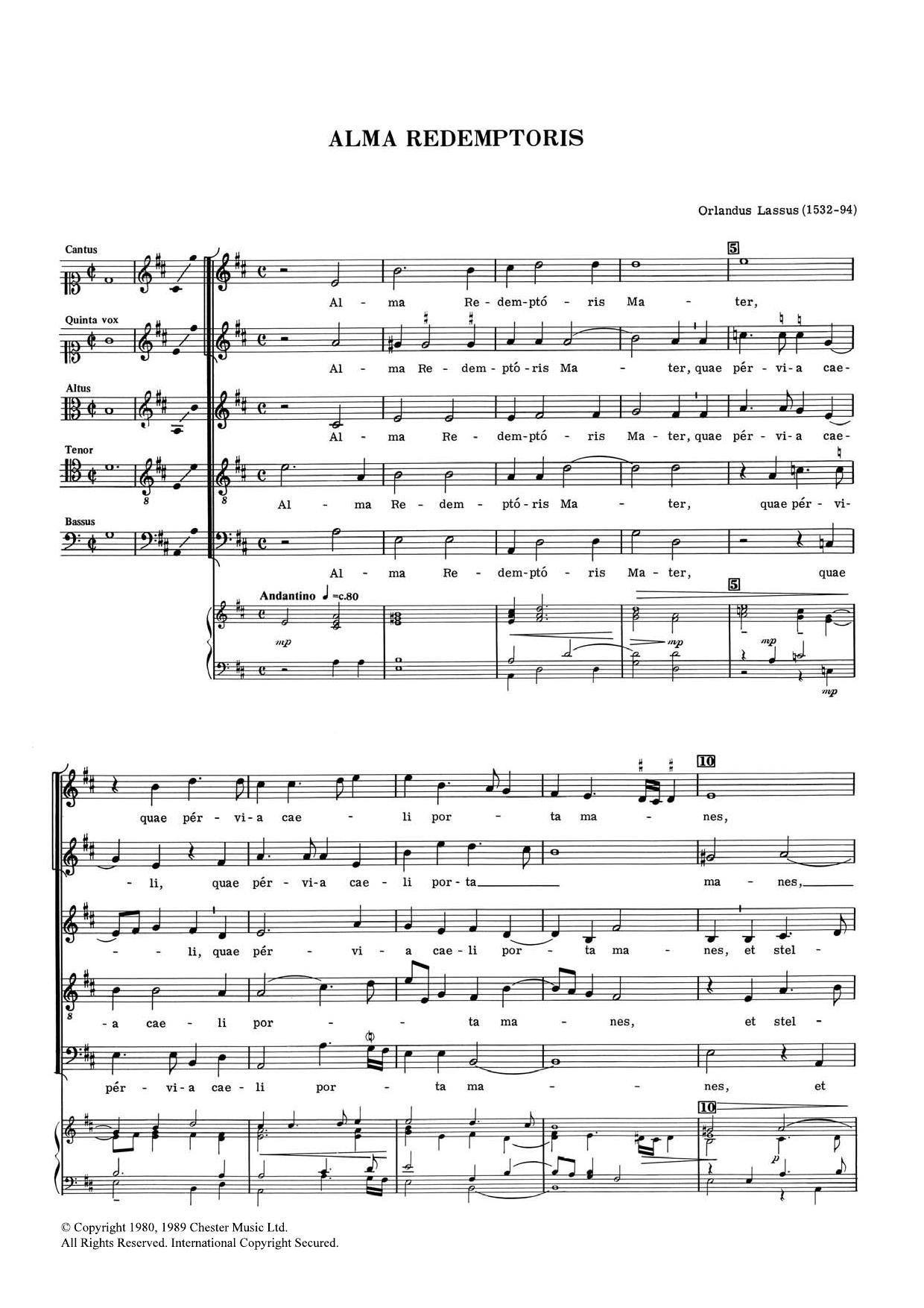 Orlandus Lassus - Alma Redemptoris