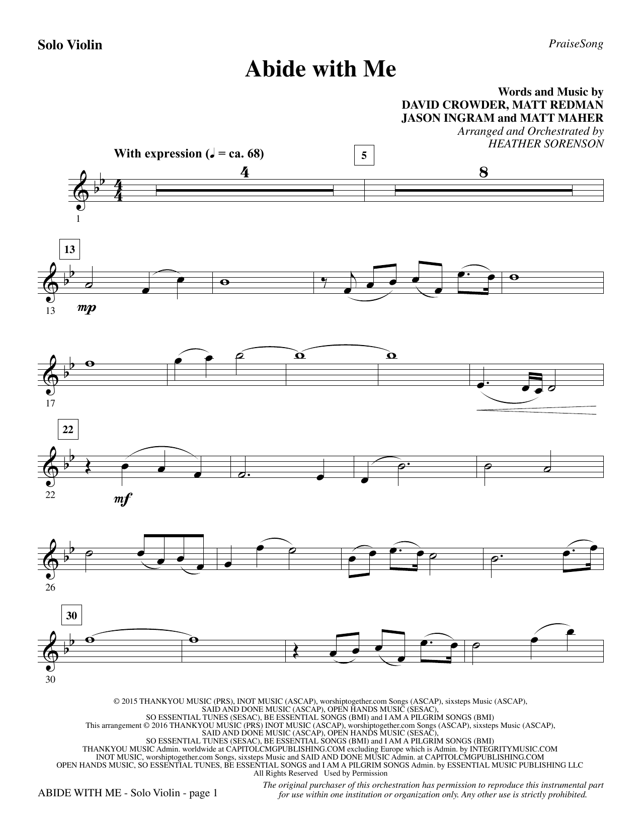 Abide with Me - Solo Violin