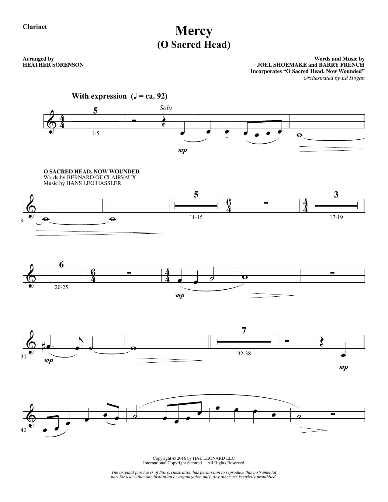 Mercy (O Sacred Head) - Bb Clarinet