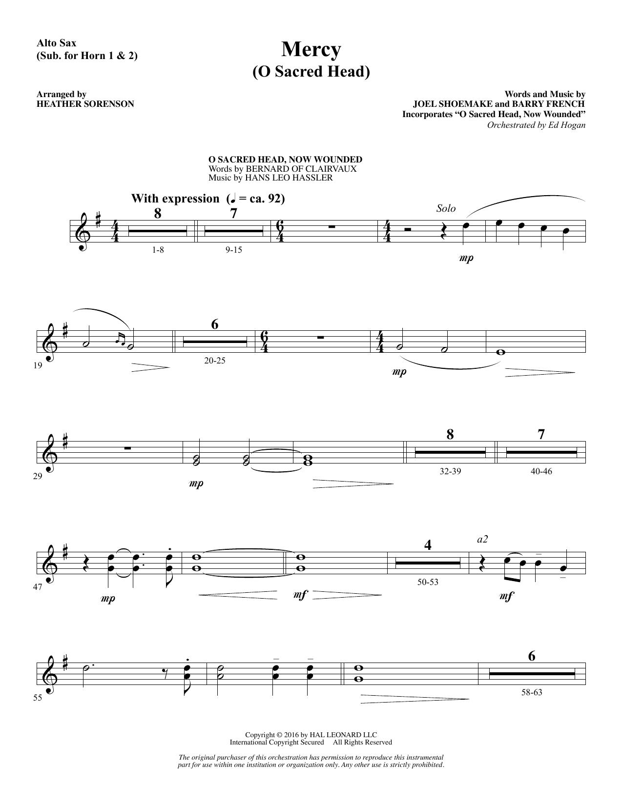 Mercy (O Sacred Head) - Alto Sax 1-2 (sub. Horn 1-2)