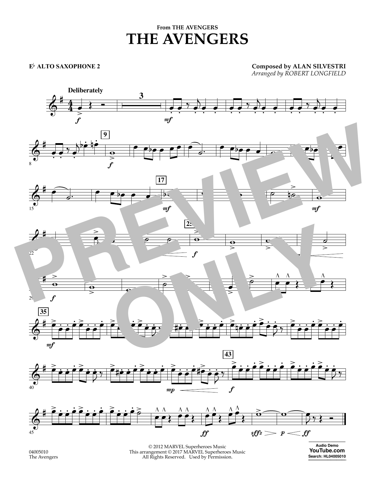 Alan Silvestri - The Avengers - Eb Alto Saxophone 2