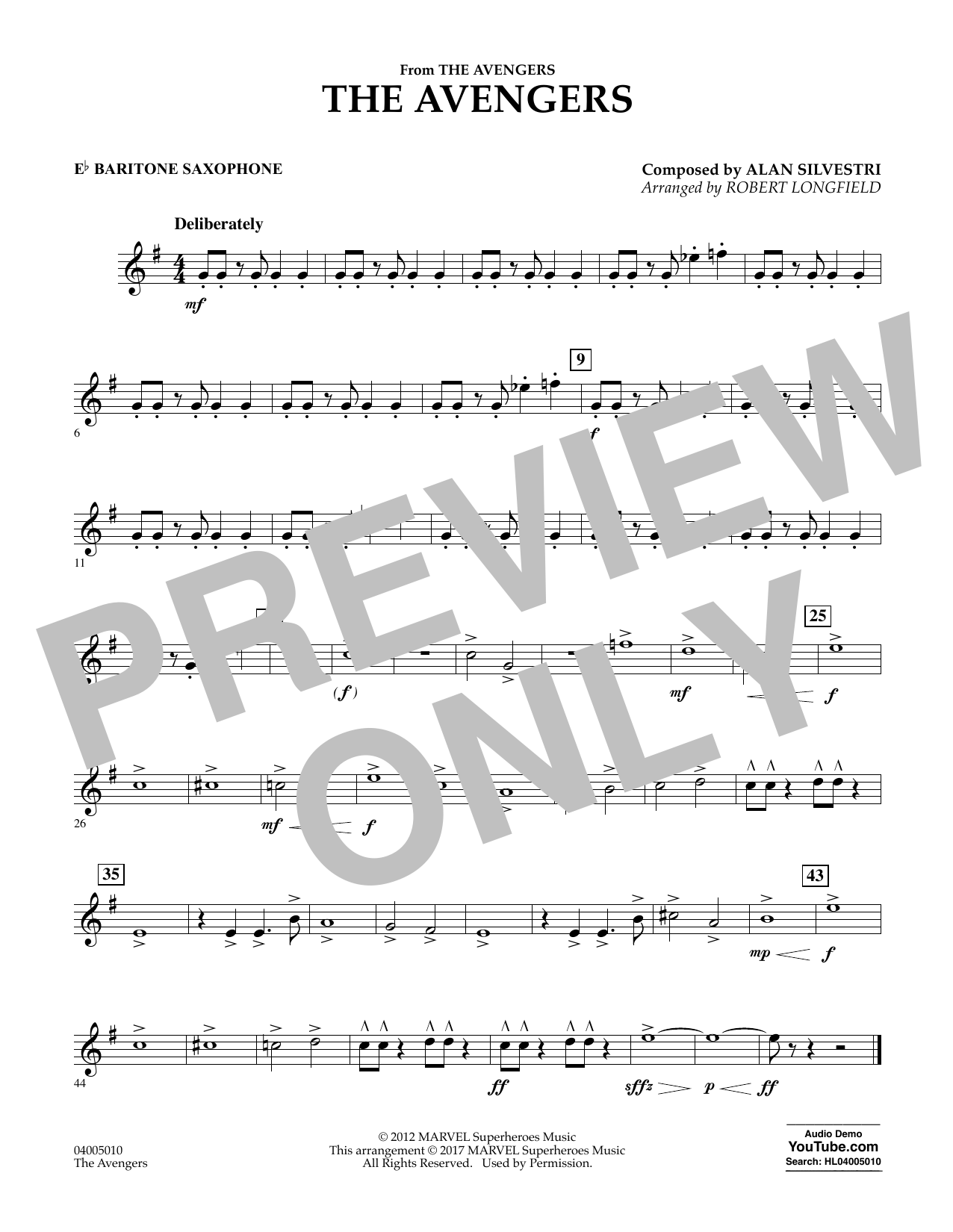 Alan Silvestri - The Avengers - Eb Baritone Saxophone