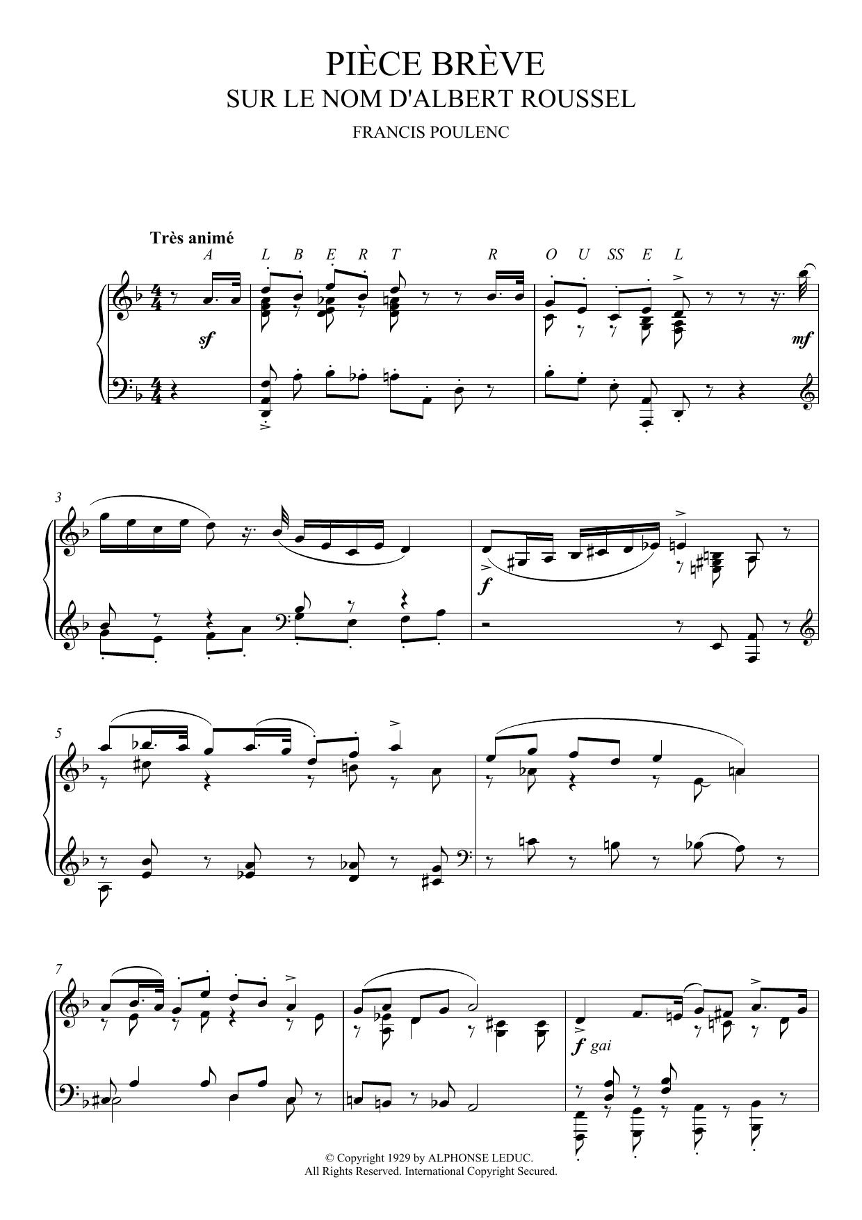 Francis Poulenc - Piece Breve Sur Le Nom D'Albert Roussel