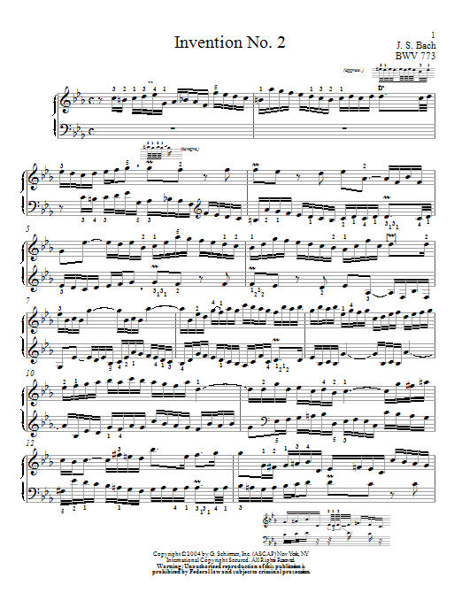 Partition piano Invention No. 2 de Christopher Taylor - Piano Solo