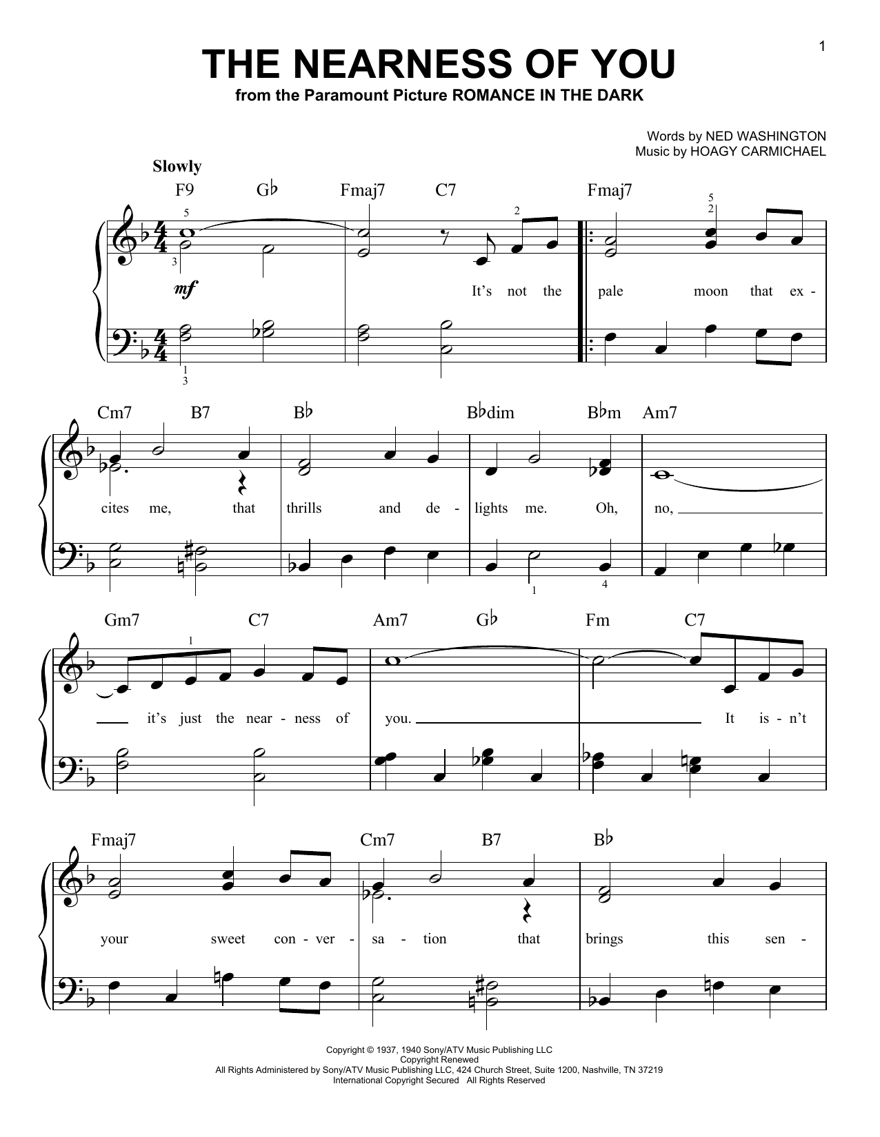Sheet music digital files to print licensed standards digital the nearness of you hexwebz Gallery