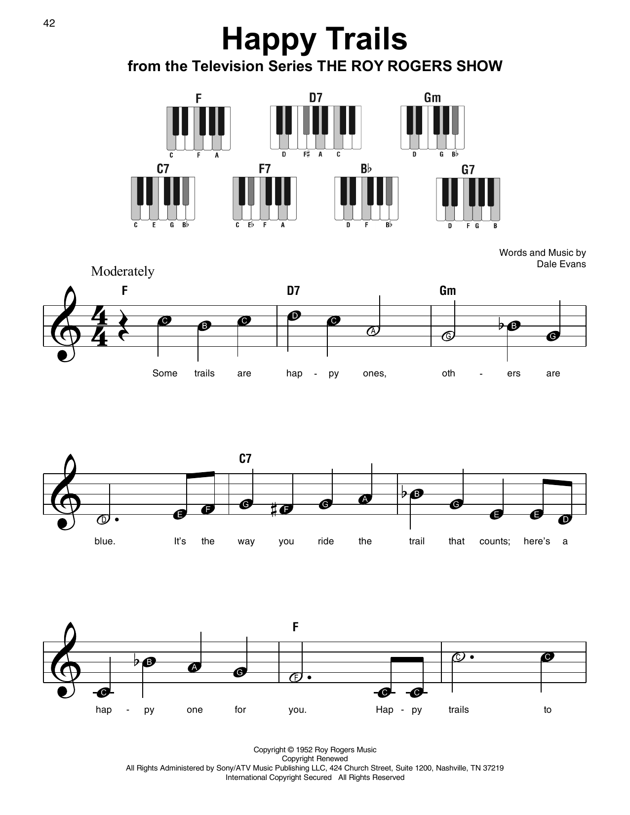 Roy rogers happy trails sheet music at stantons sheet music format easy piano hexwebz Choice Image
