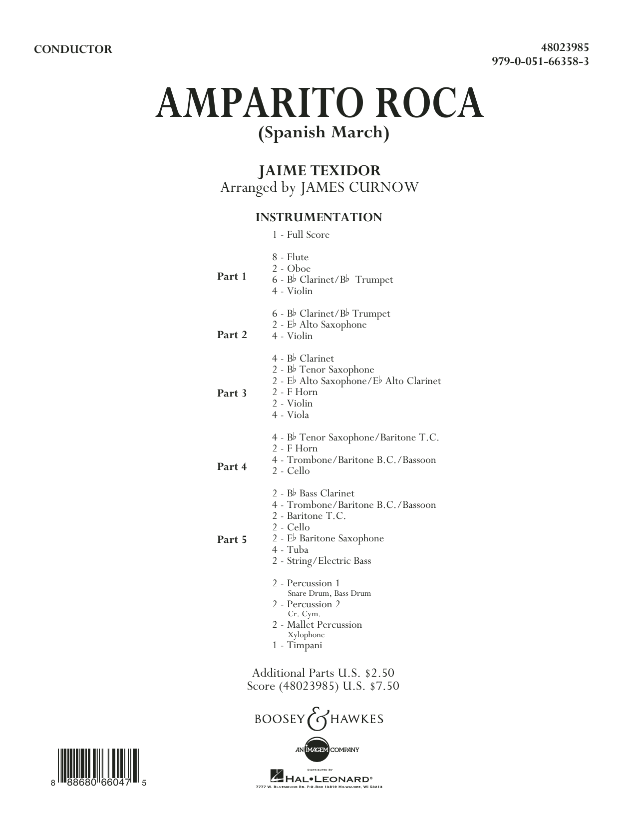 Jaime Texidor - Amparito Roca (Spanish March) - Conductor Score (Full Score)