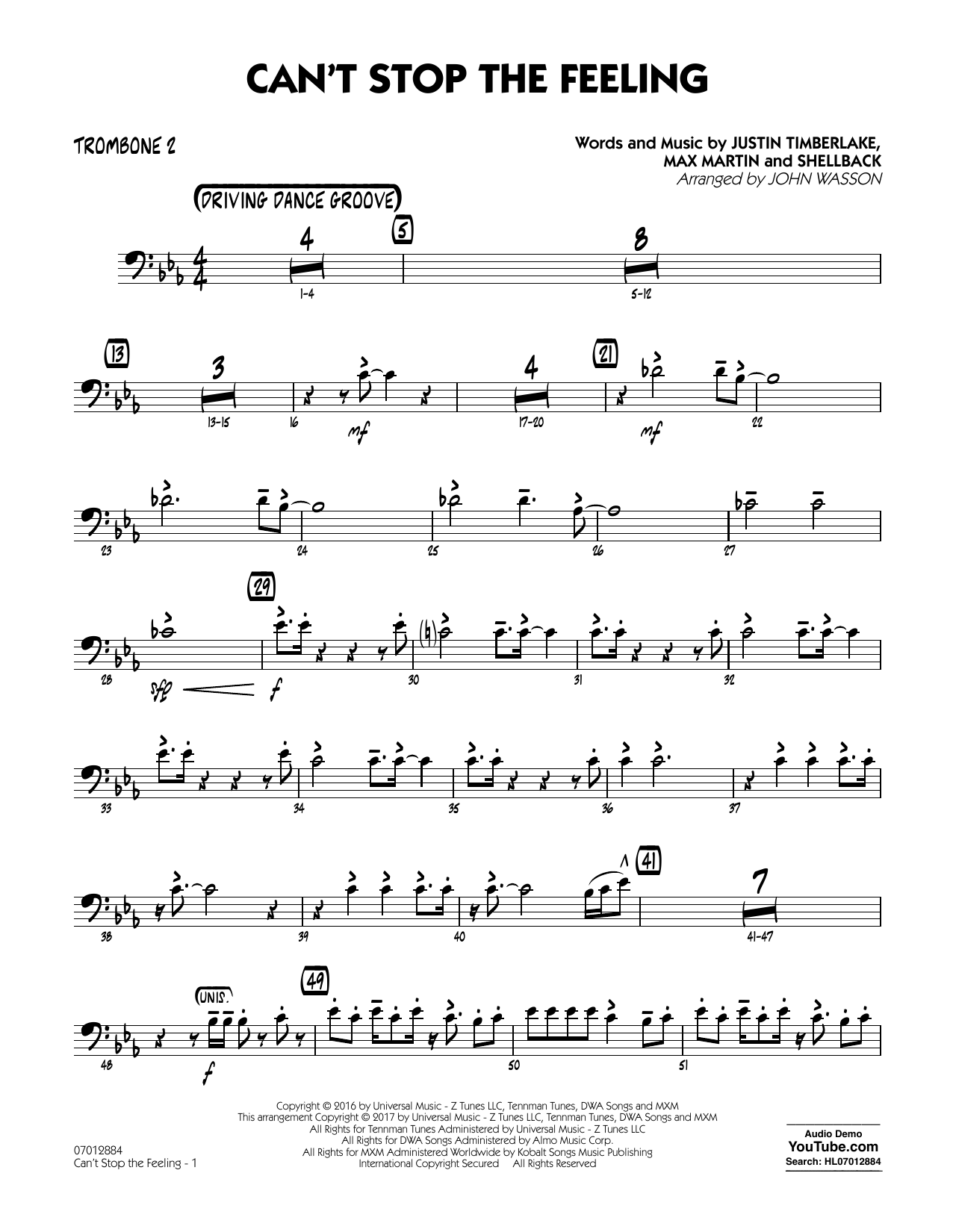 Can't Stop the Feeling - Trombone 2