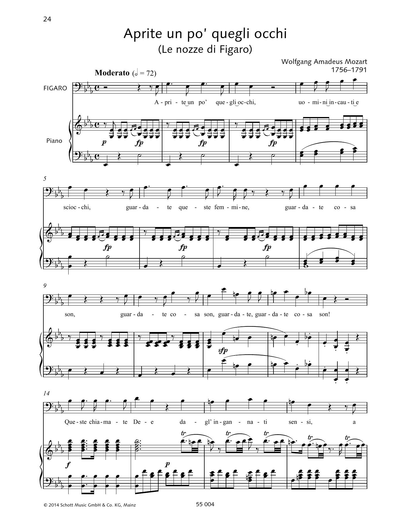 Wolfgang Amadeus Mozart - Aprite un po' quegli occhi