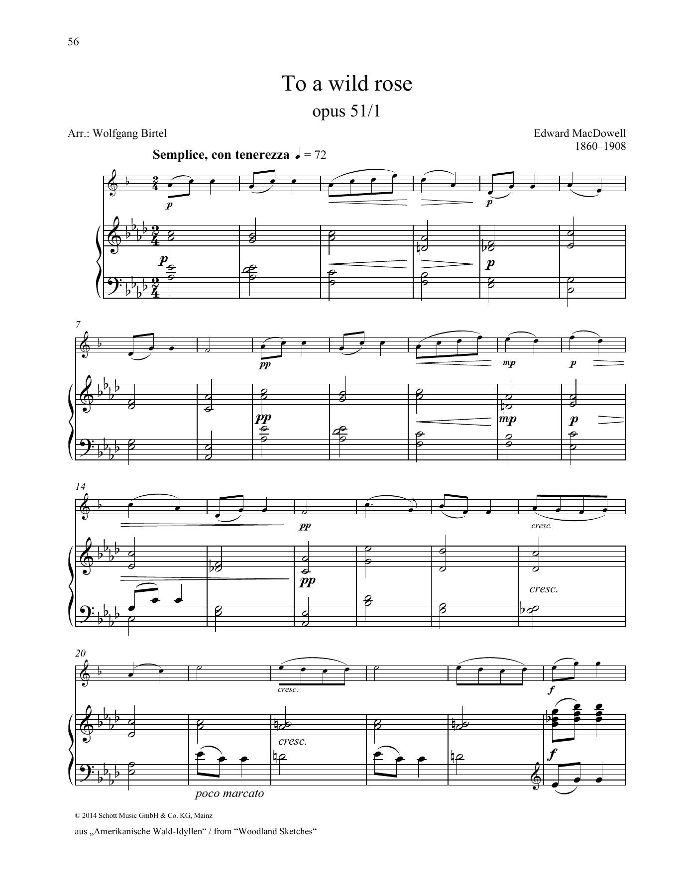 to a wild rose sheet music
