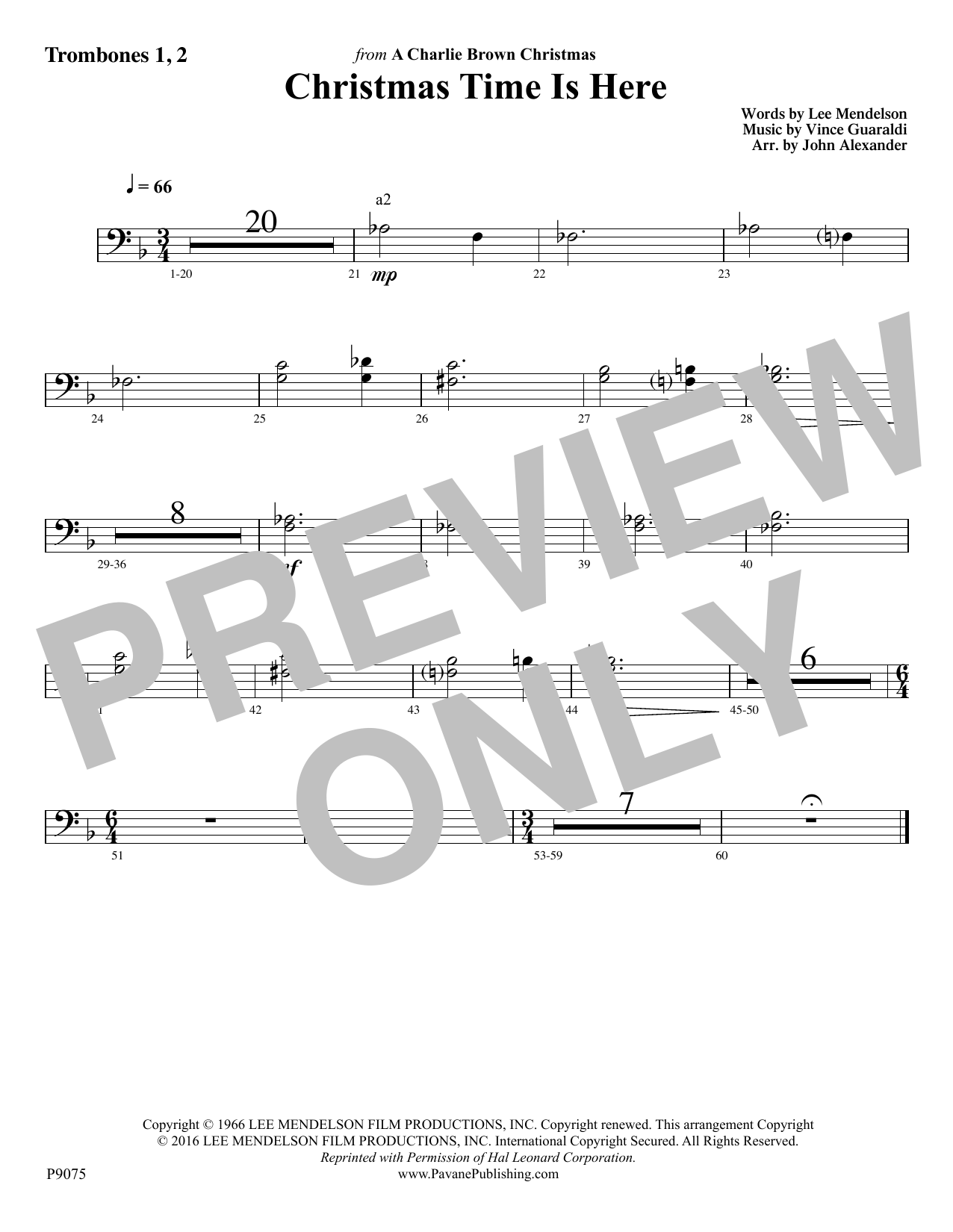 Lee Mendelson - Christmas Time Is Here - Trombone 1, 2