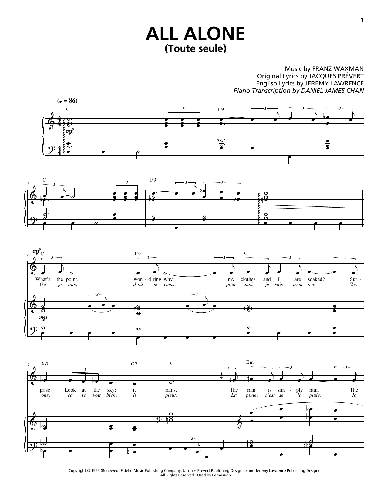 Franz Waxman - All Alone (Toute Seule)
