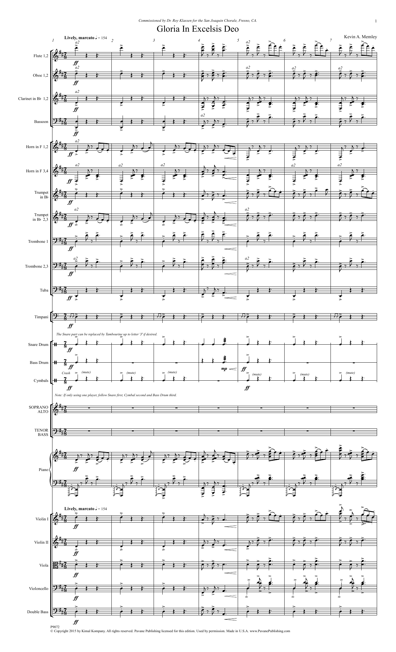 Kevin A. Memley - Gloria in Excelsis Deo - Full Score
