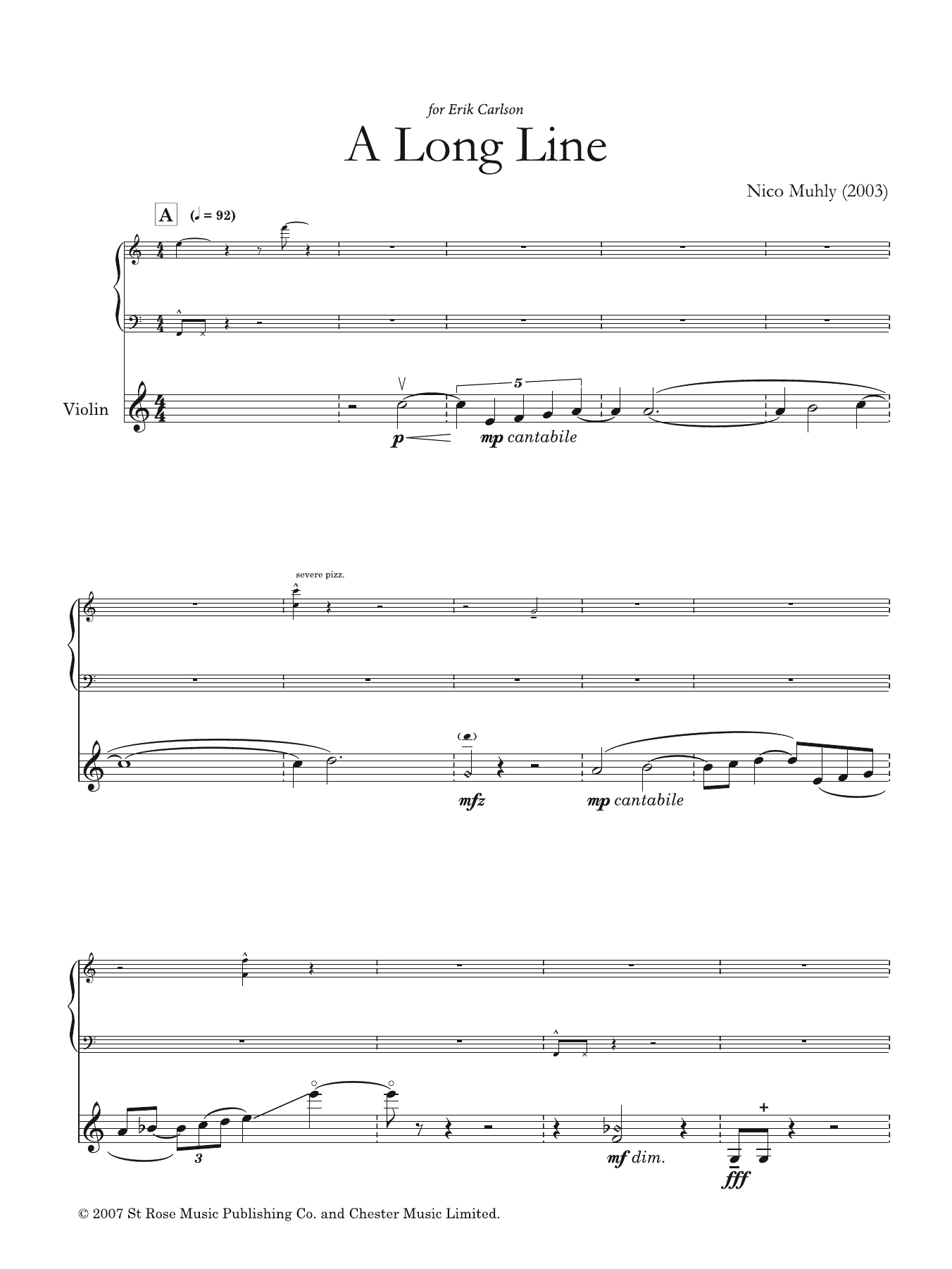 Nico Muhly: A Long Line (for solo violin and electronics)