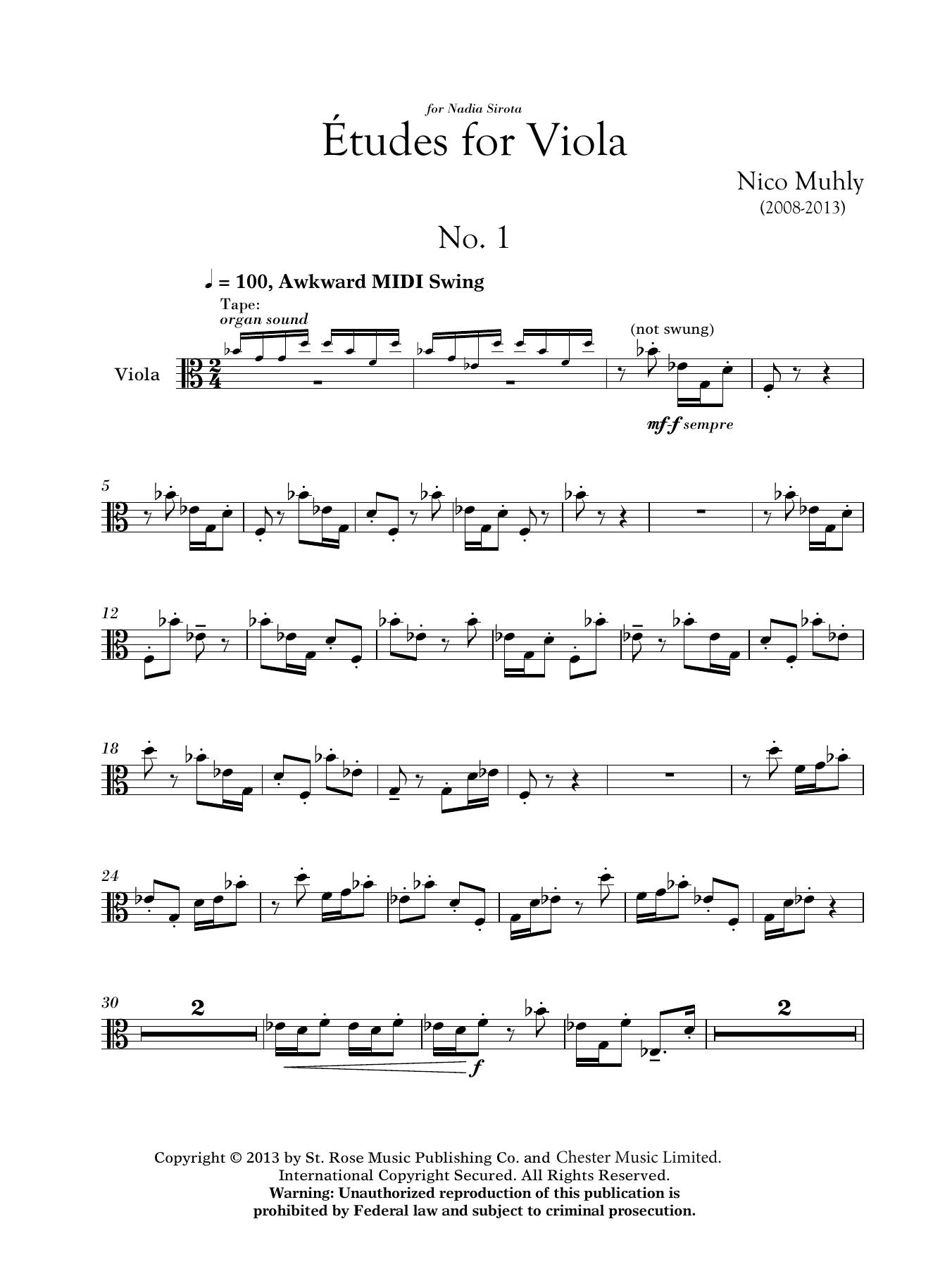 Nico Muhly: Three Etudes For Viola