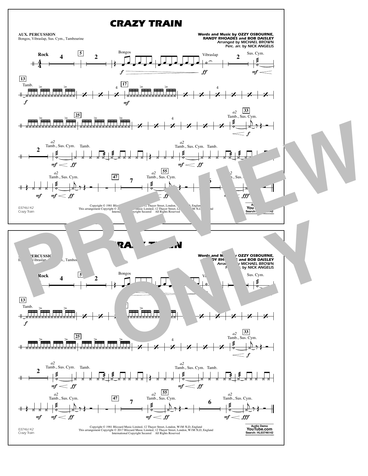 Sheet music digital files to print licensed ozzy osbourne crazy train aux percussion hexwebz Choice Image