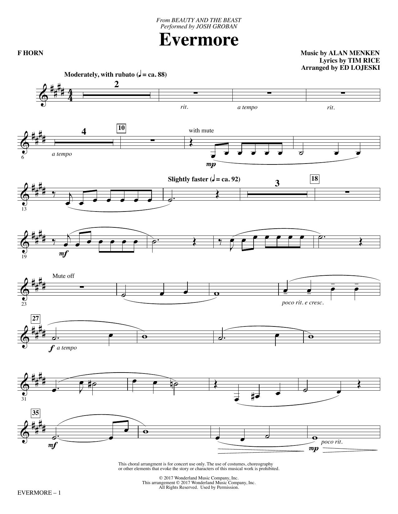 Josh Groban - Evermore - F Horn
