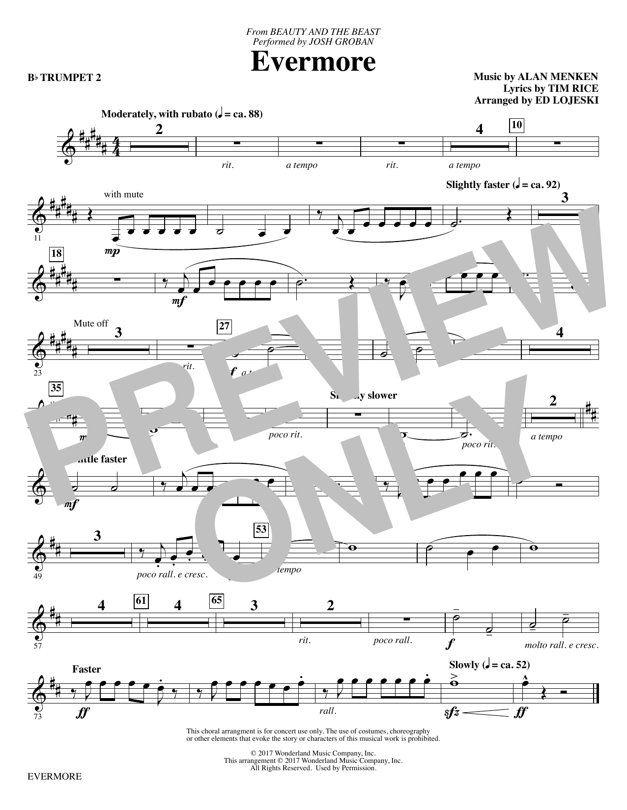 Josh Groban - Evermore - Bb Trumpet 2