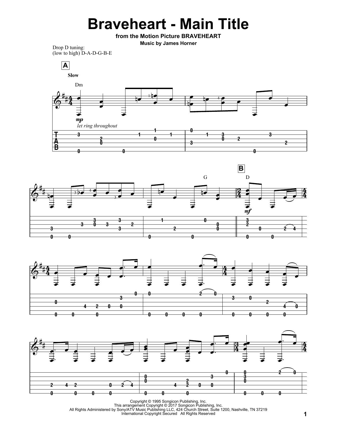 Braveheart main title sheet music at stantons sheet music format guitar solo hexwebz Choice Image