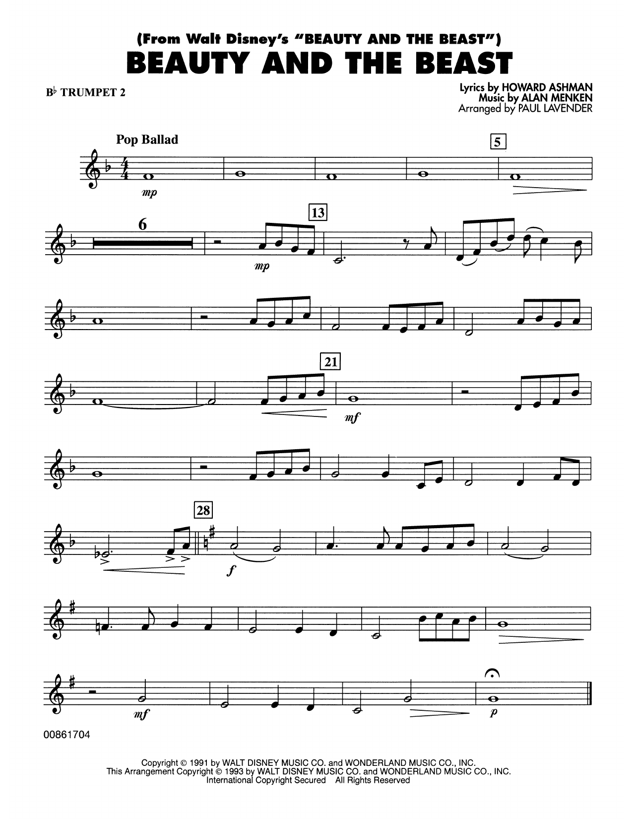 Beauty and the beast bb trumpet 2 sheet music at stantons format concert band hexwebz Choice Image
