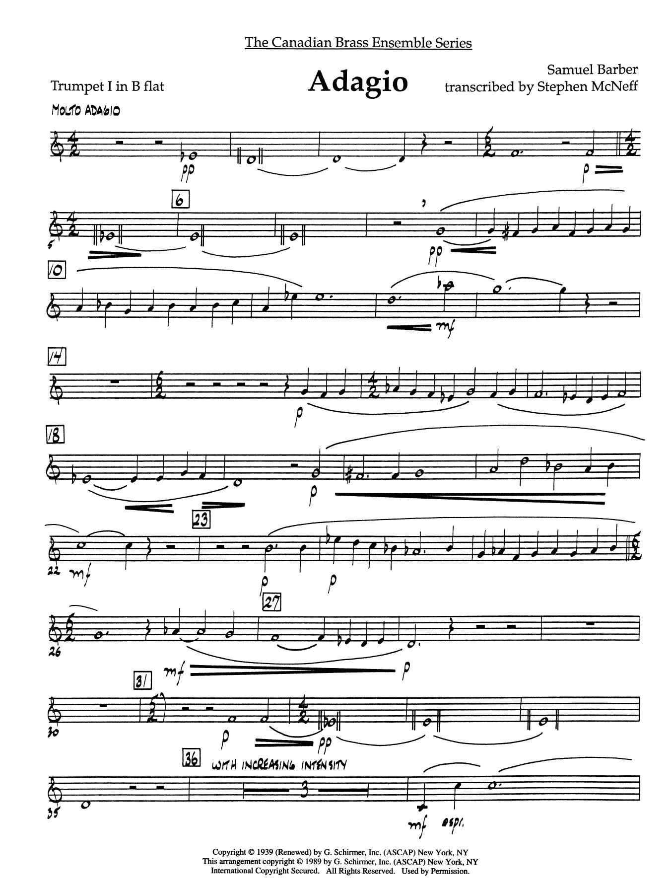 Adagio (Adagio For Strings) - Bb Trumpet 1 (Brass Quintet)