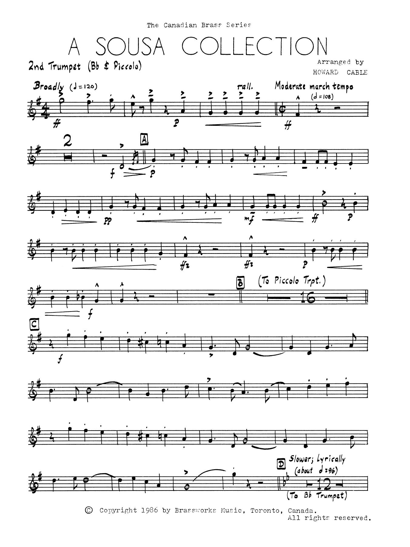 A Sousa Collection - Bb Trumpet 2 (Brass Quintet)