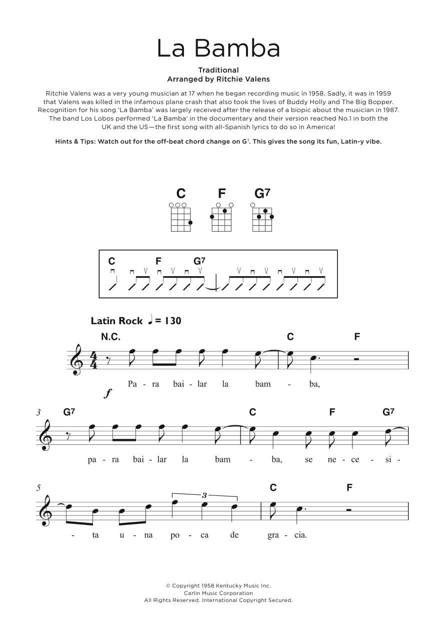 Sheet Music Digital Files To Print Licensed Ritchie Valens Digital