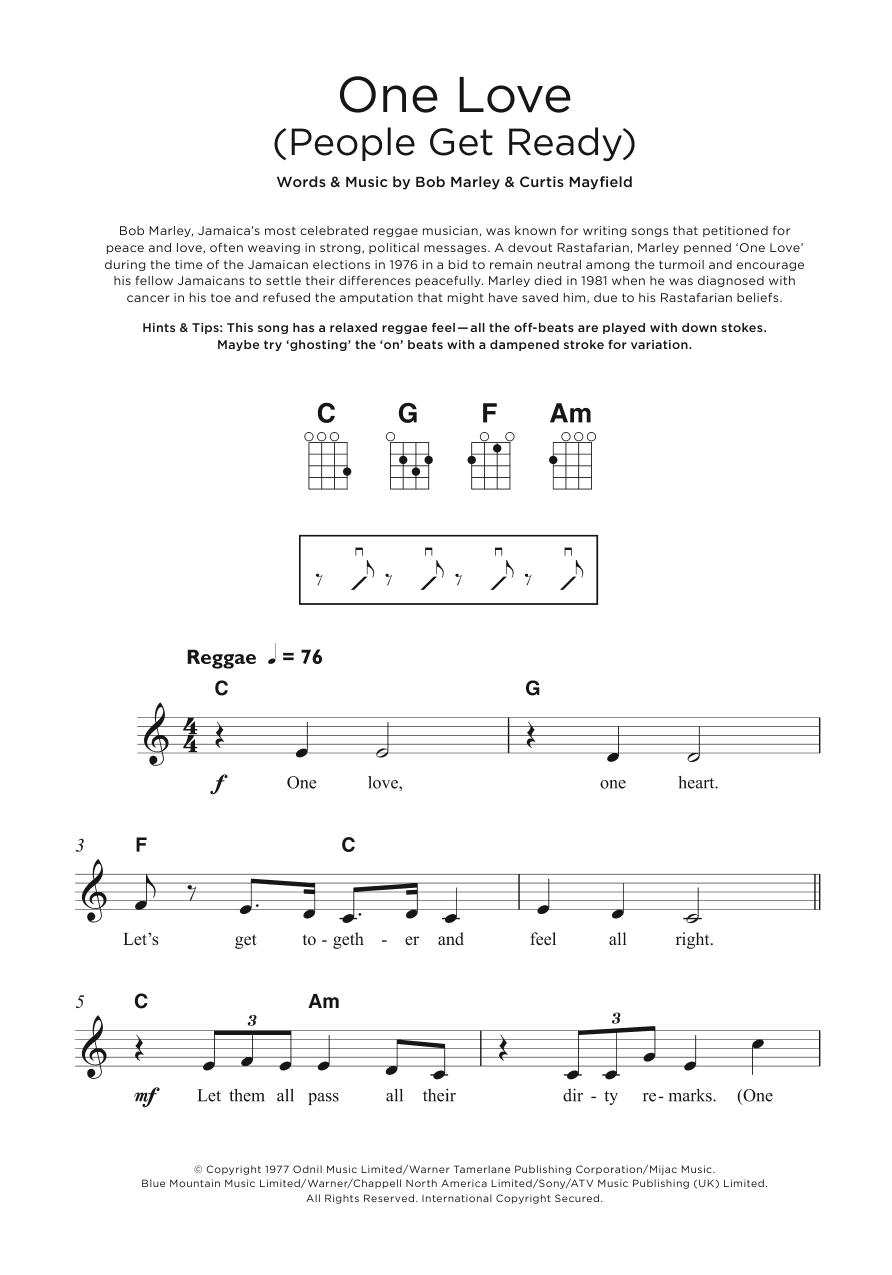 Bob marley one love people get ready sheet music at bob marley one love people get ready hexwebz Gallery