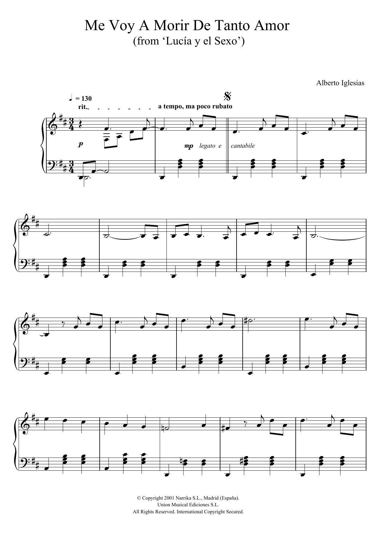 """Alberto Iglesias - Me Voy A Morir De Tanto Amor (from """"Lucia y el Sexo"""")"""