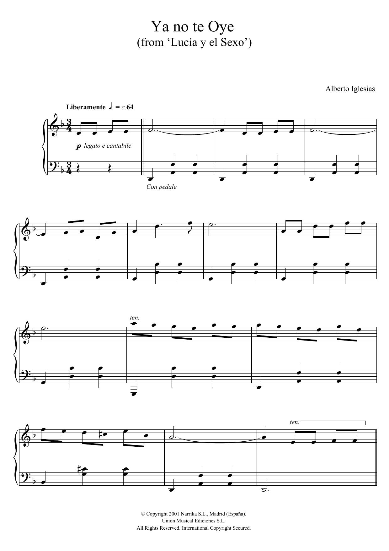 "Alberto Iglesias - Ya no te Oye (from ""Lucia y el Sexo"")"