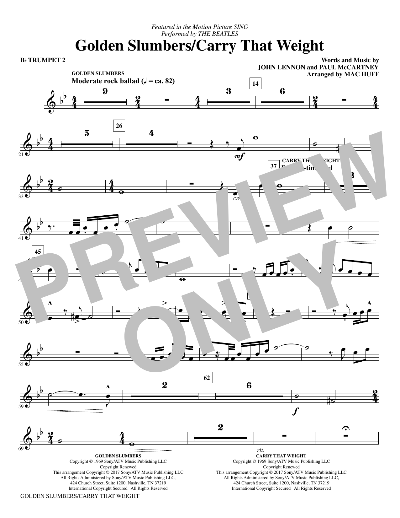 Golden Slumbers/Carry That Weight (from Sing) (arr. Mac Huff) - Bb Trumpet 2