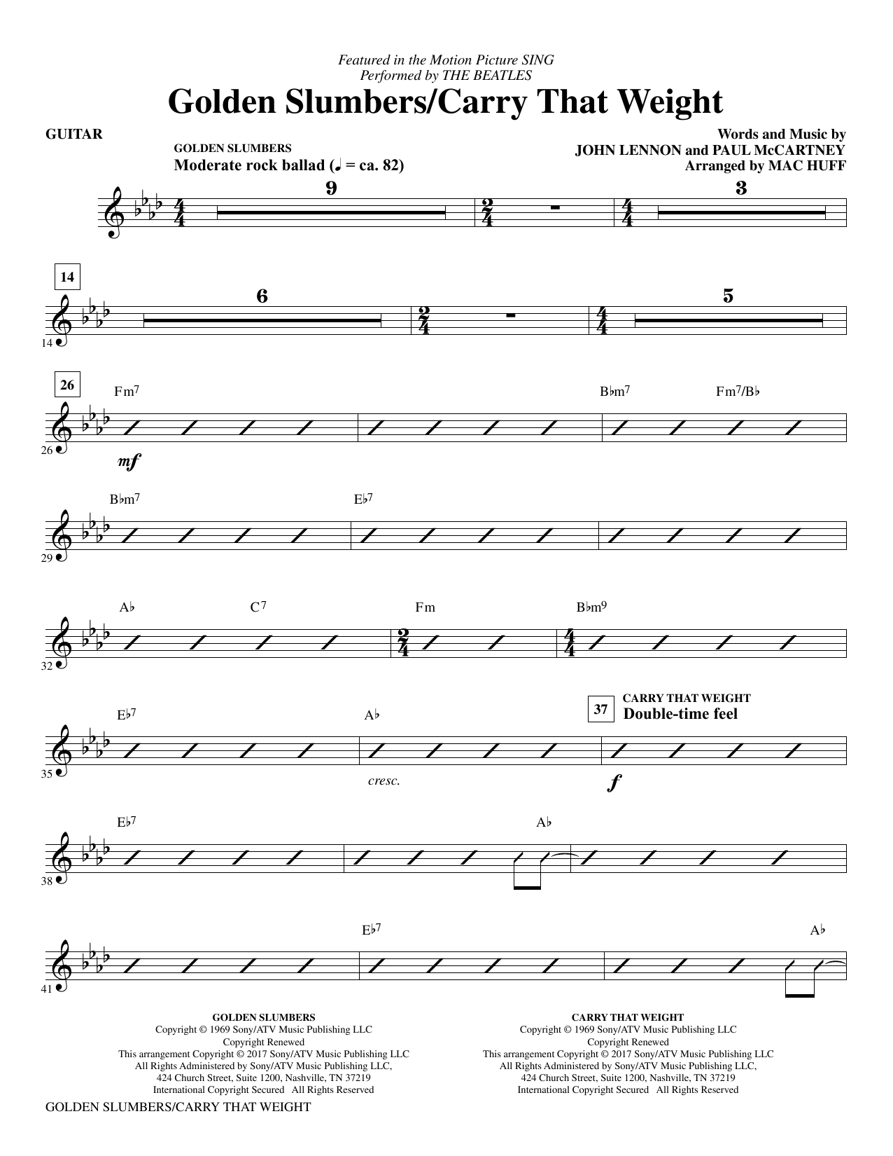 Golden Slumbers/Carry That Weight (from Sing) (arr. Mac Huff) - Guitar