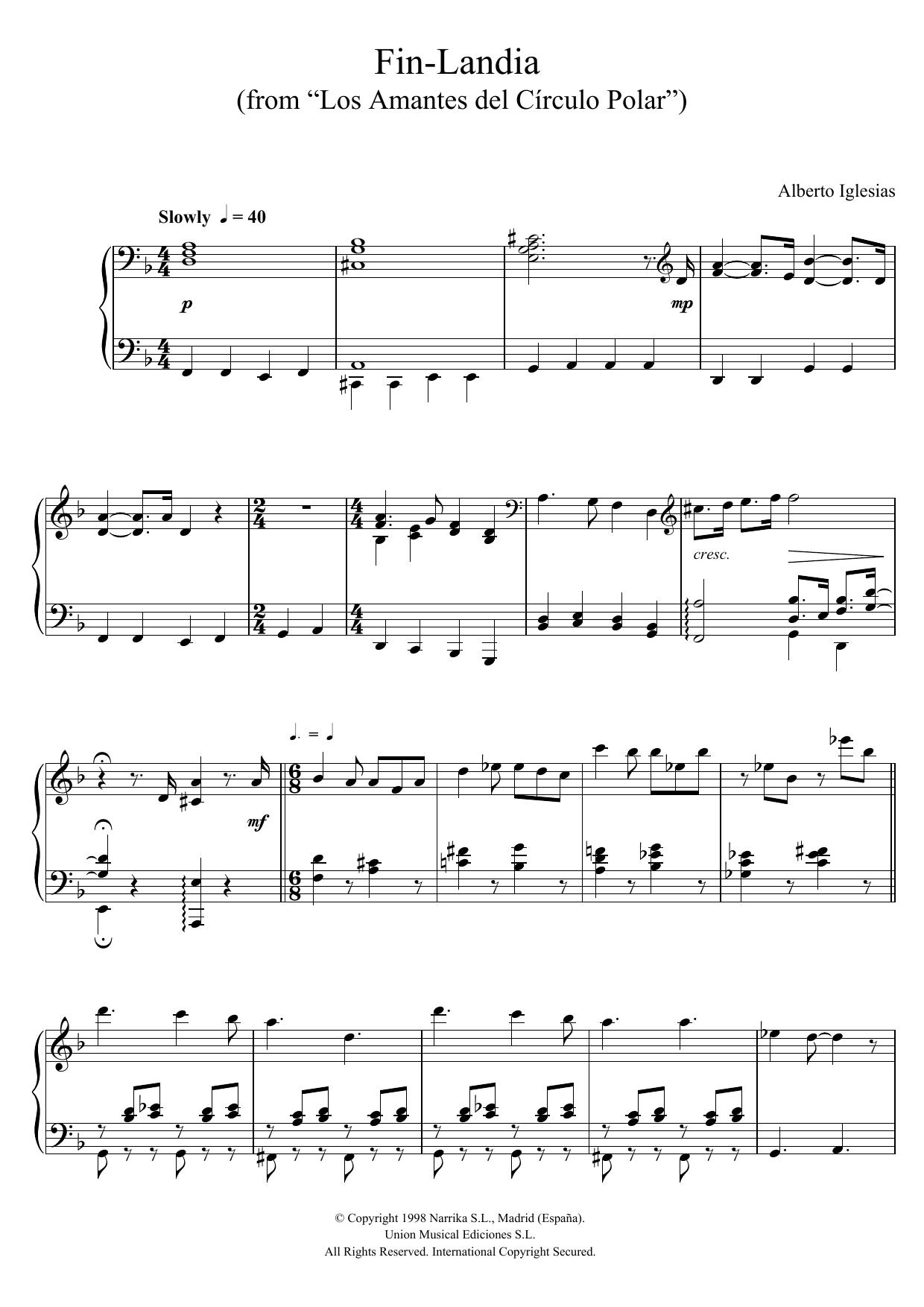 """Alberto Iglesias - Fin-Landia (from """"Los Amantes del Circulo Polar"""")"""