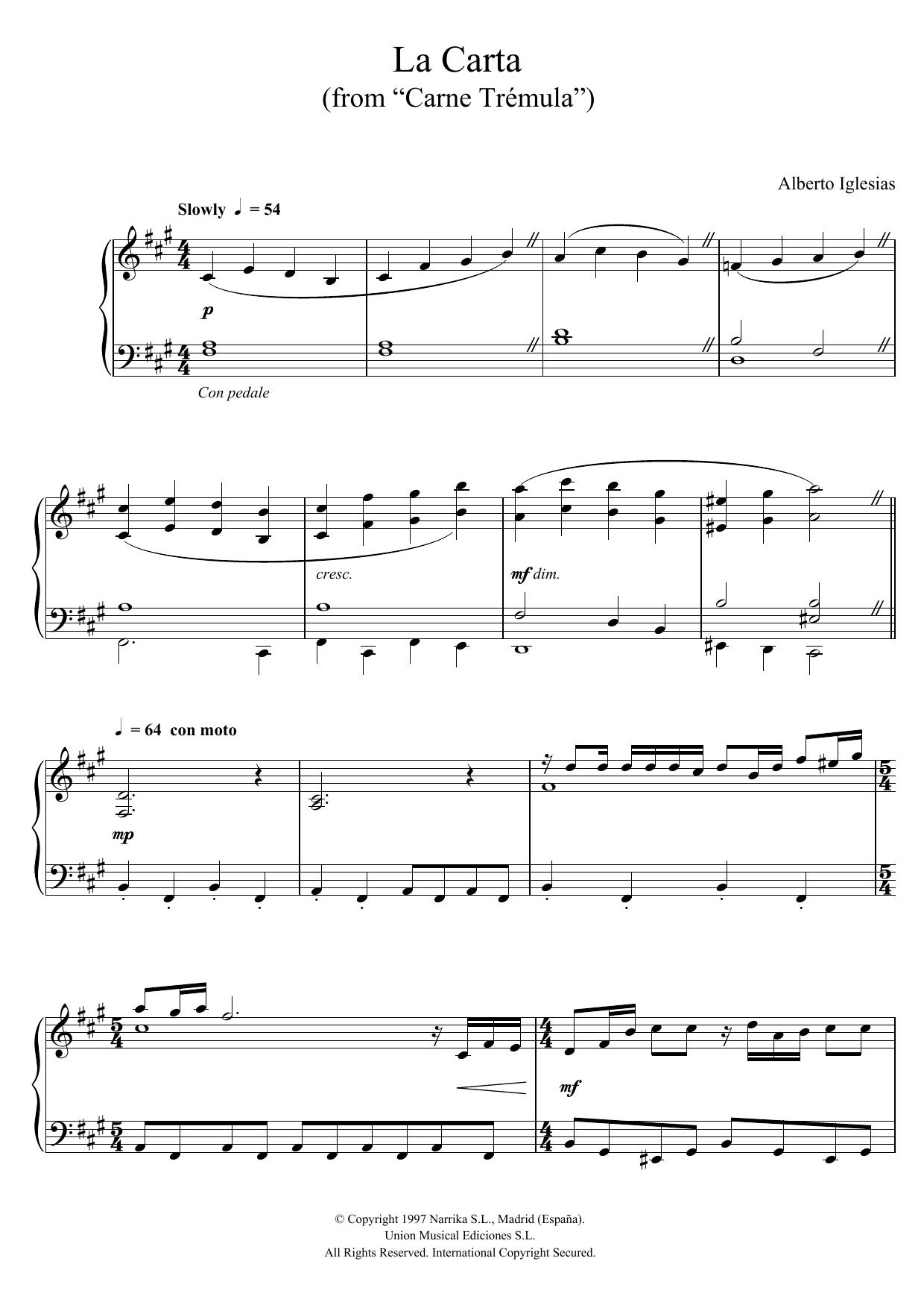 """Alberto Iglesias - La Carta (from """"Carne Tremula"""")"""