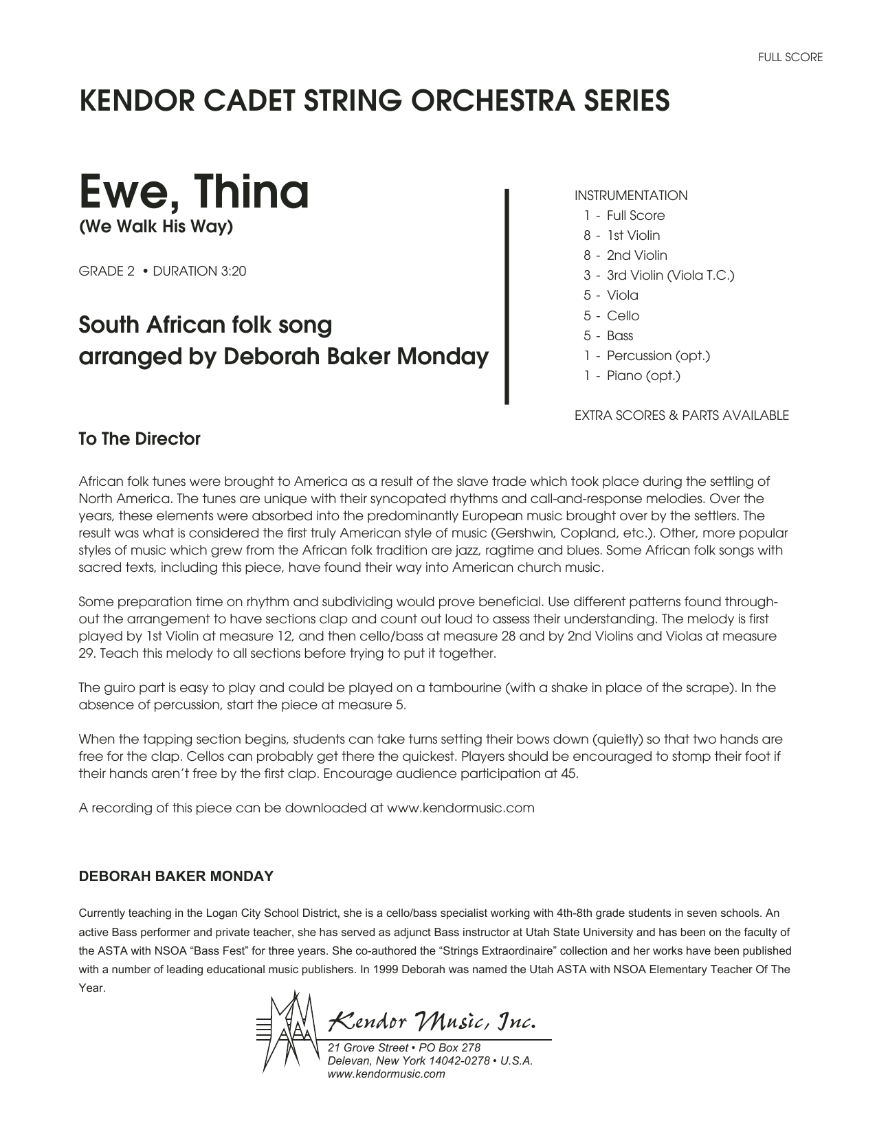 Ewe, Thina (We Walk His Way) - Full Score