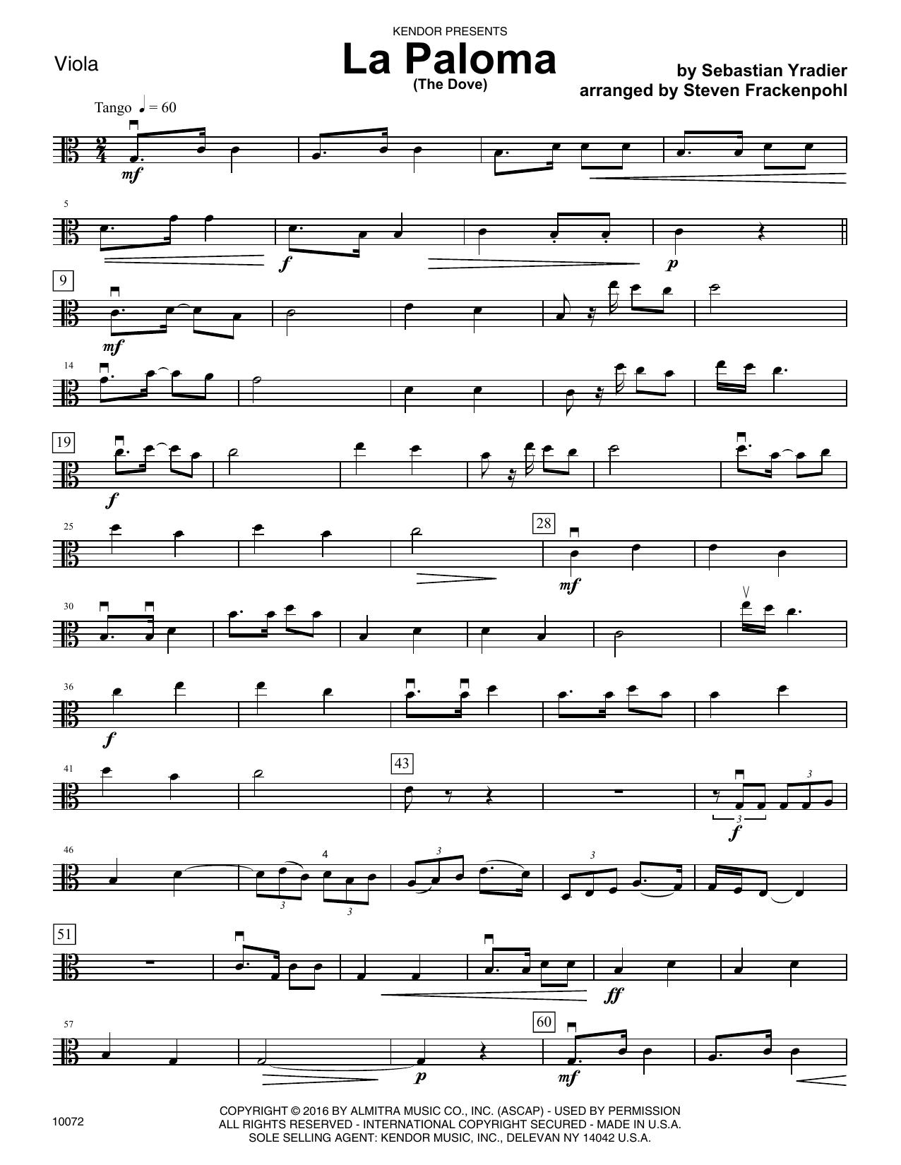La Paloma (The Dove) - Viola
