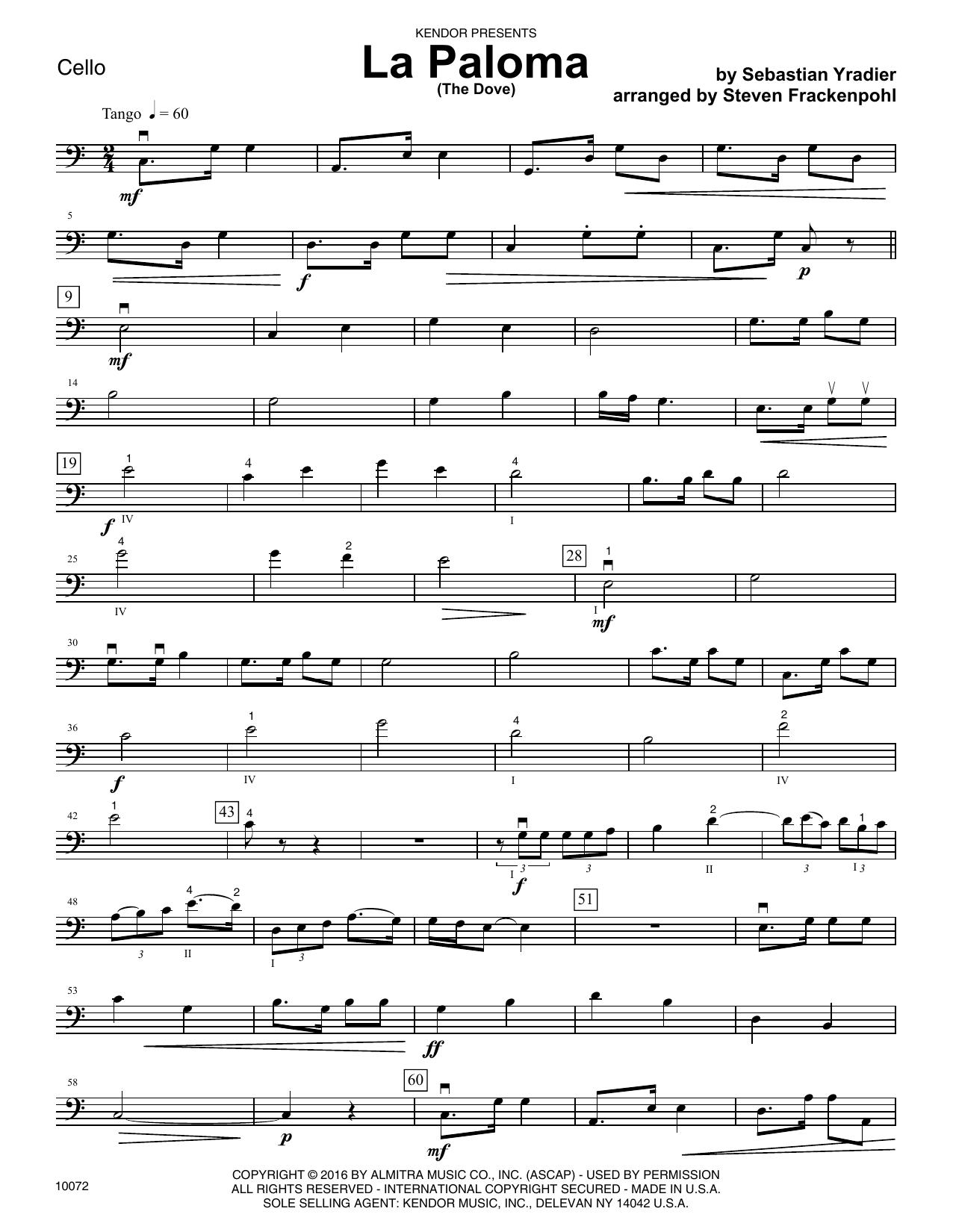 La Paloma (The Dove) - Cello