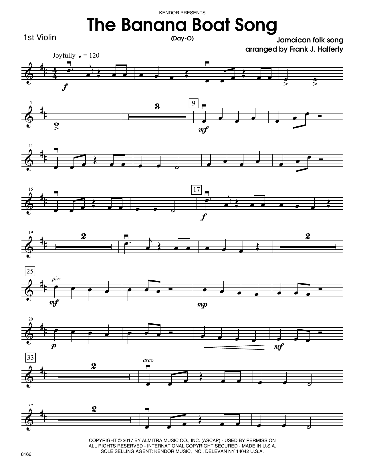 Banana boat song the day o 1st violin sheet music at banana boat song the day o 1st violin hexwebz Image collections