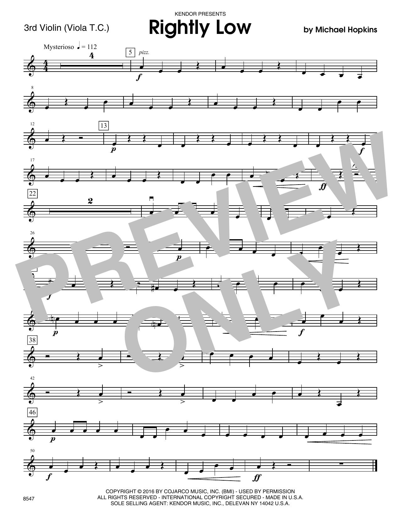 Rightly Low - Violin 3 (Viola T.C.)