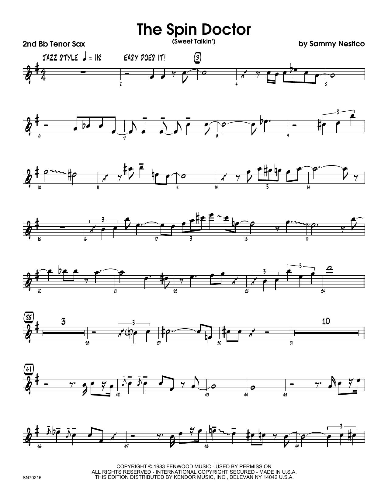 The Spin Doctor (Sweet Talkin') - 2nd Bb Tenor Saxophone