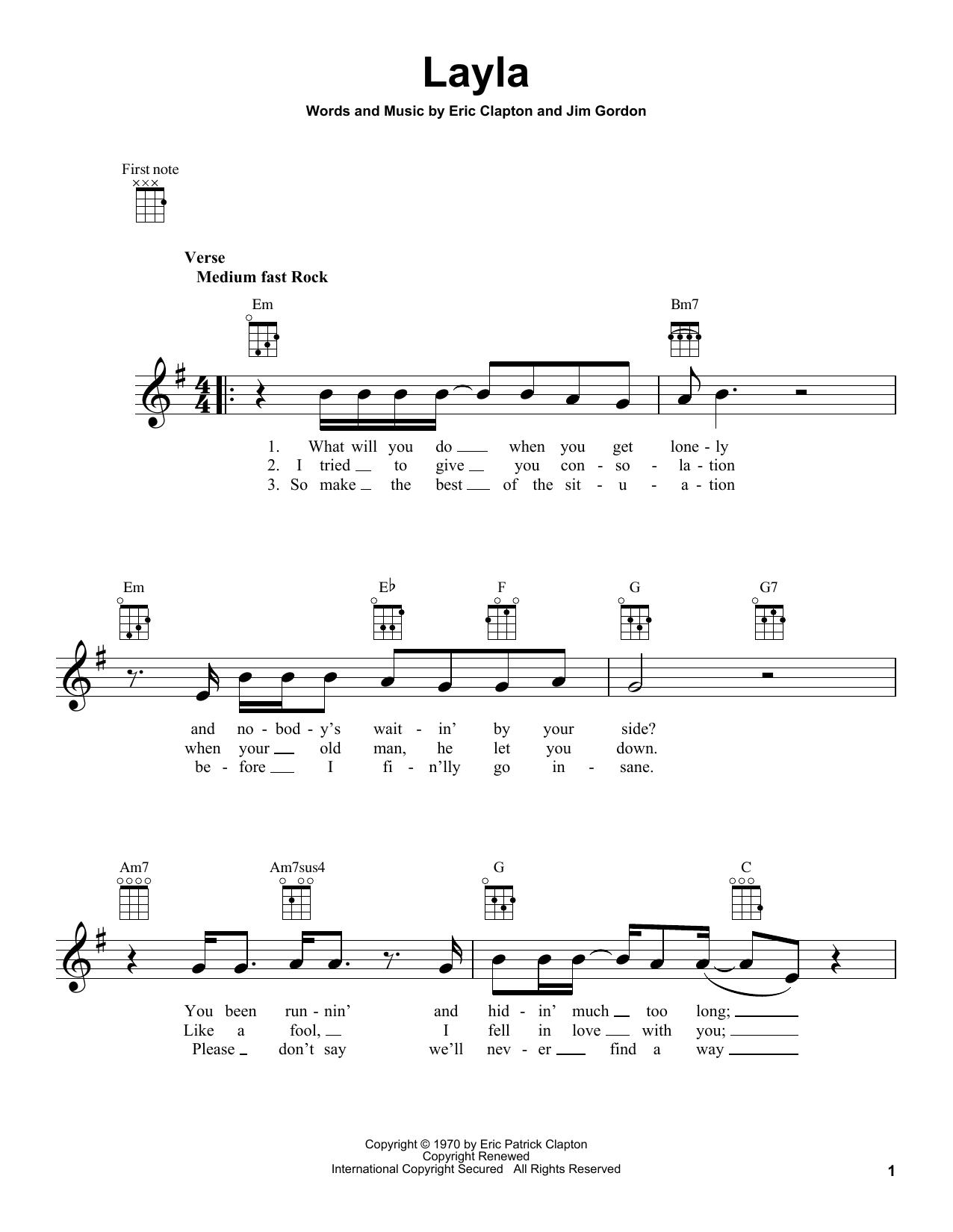 layla chords and lyrics