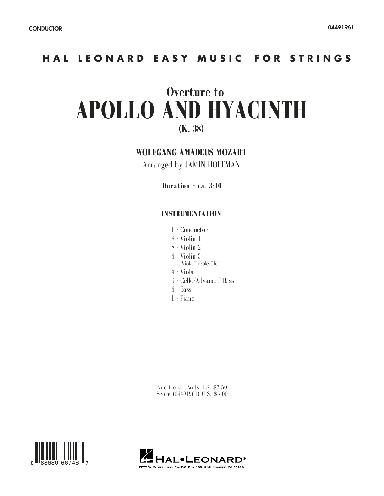 W.A. Mozart - Overture from Apollo and Hyacinth - Conductor Score (Full Score)