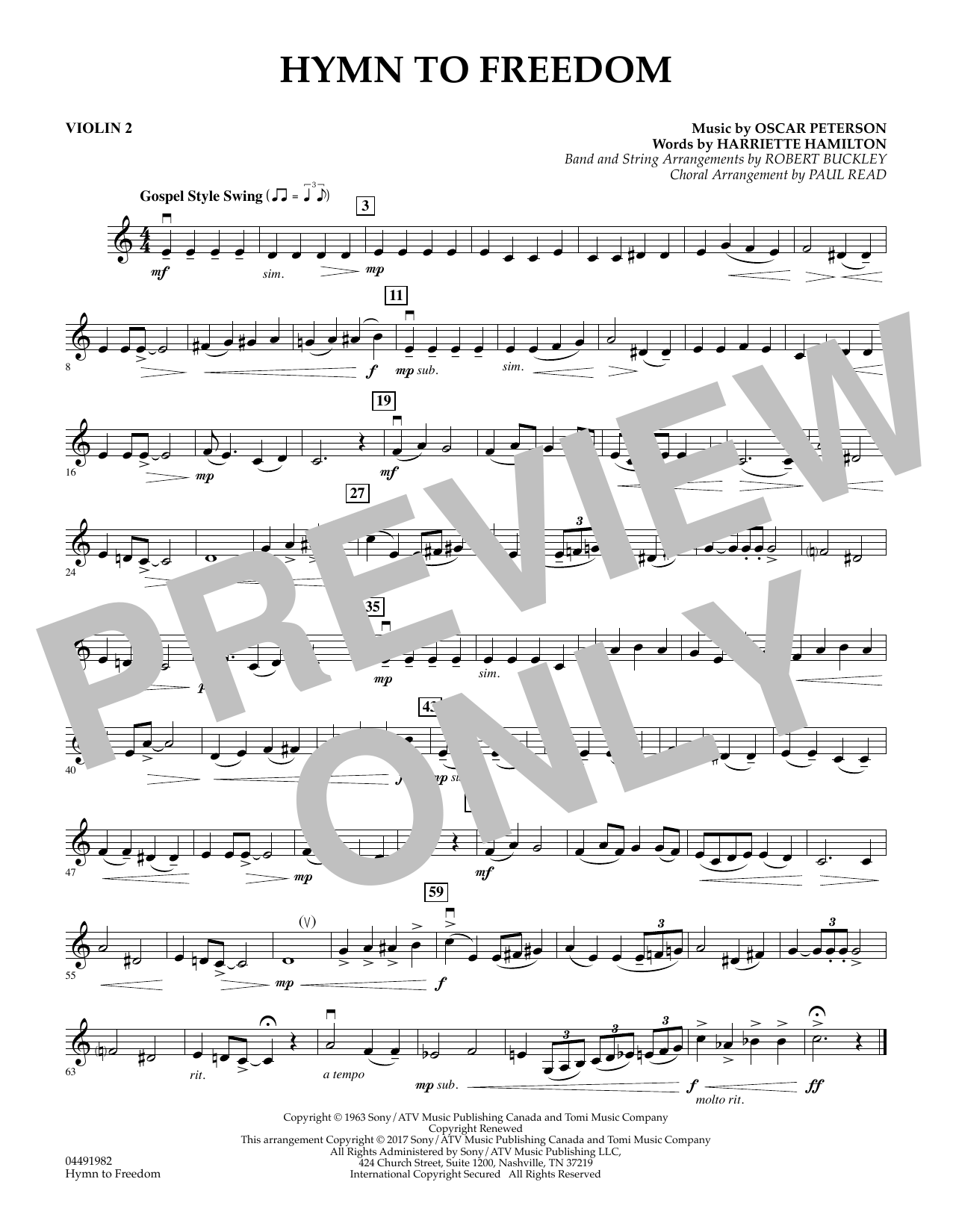 Paul Read - Hymn to Freedom - Violin 2
