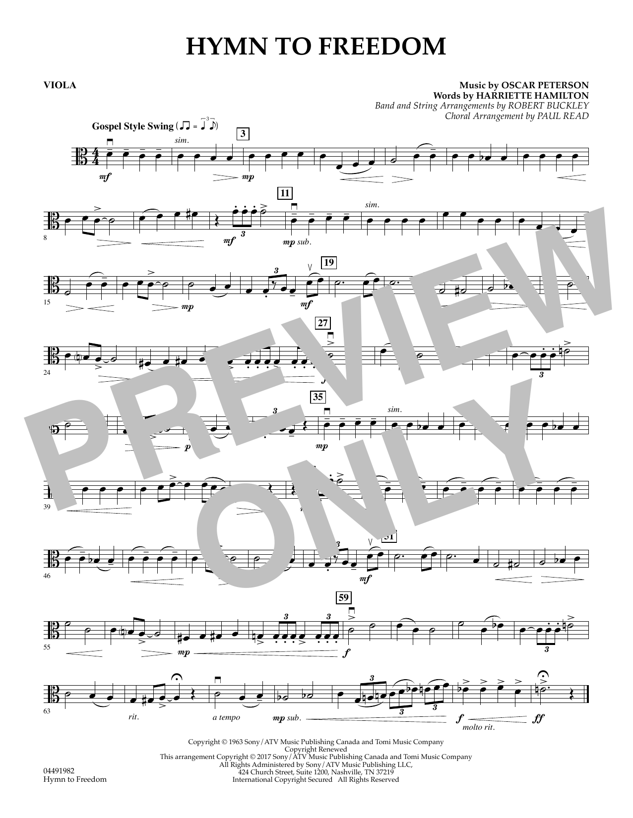 Paul Read - Hymn to Freedom - Viola