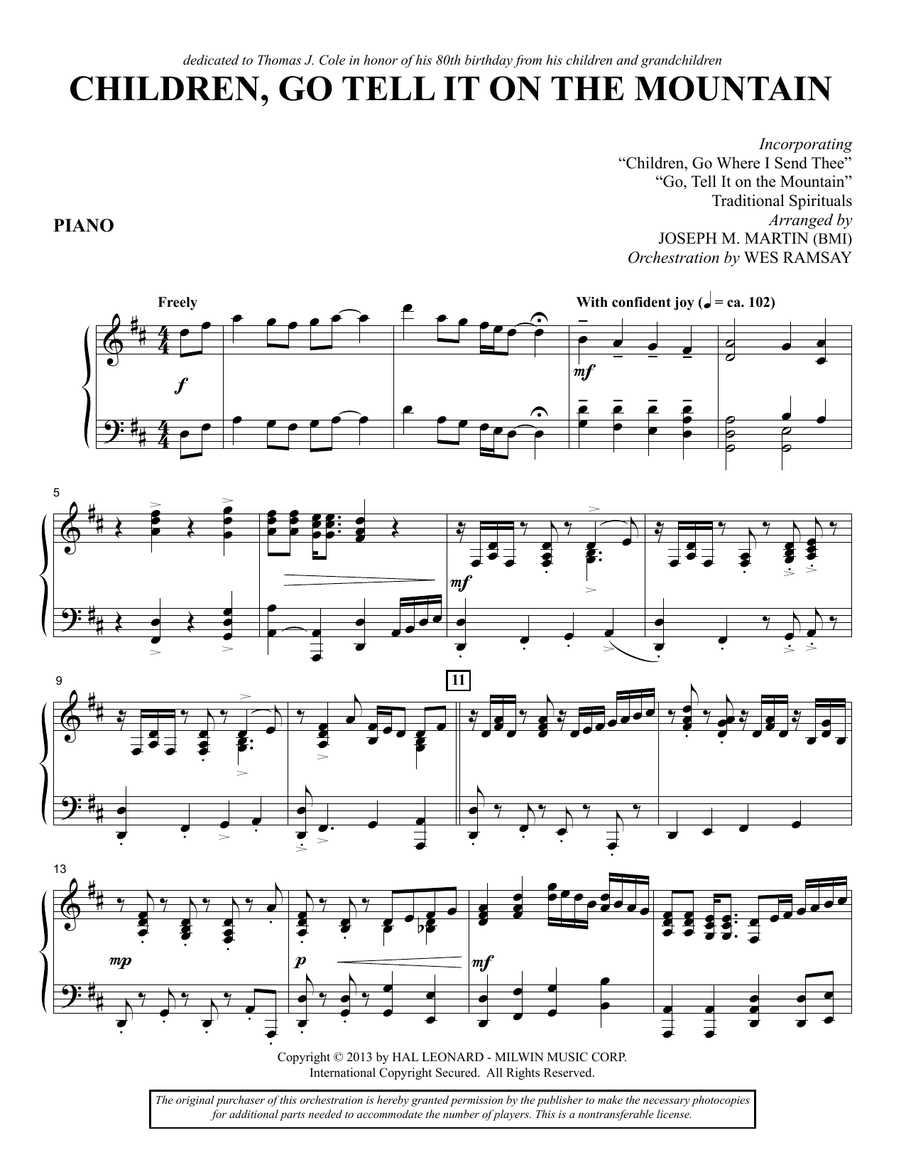 Children, Go Tell It on the Mountain - Piano