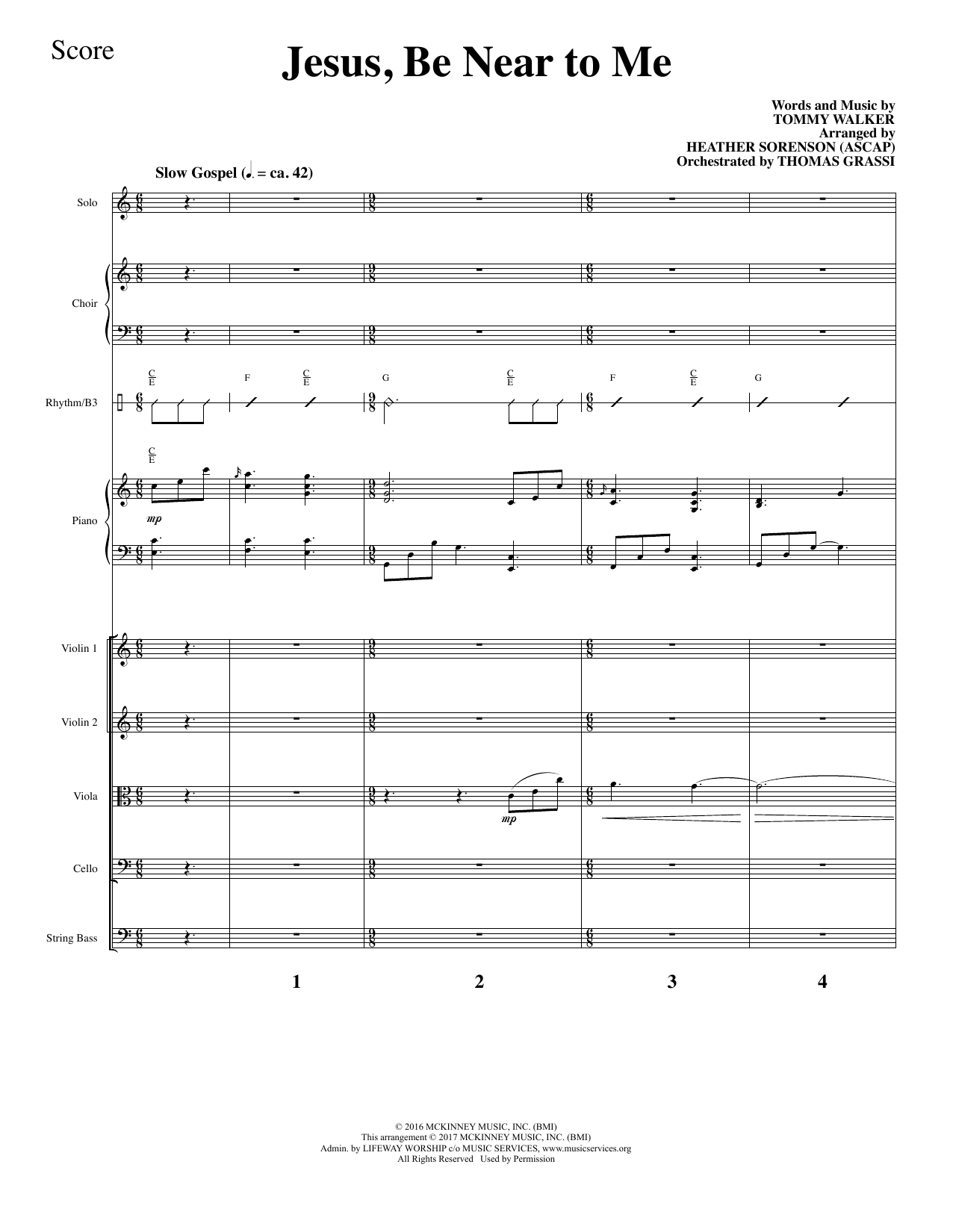 Tommy Walker - Jesus, Be Near to Me - Full Score
