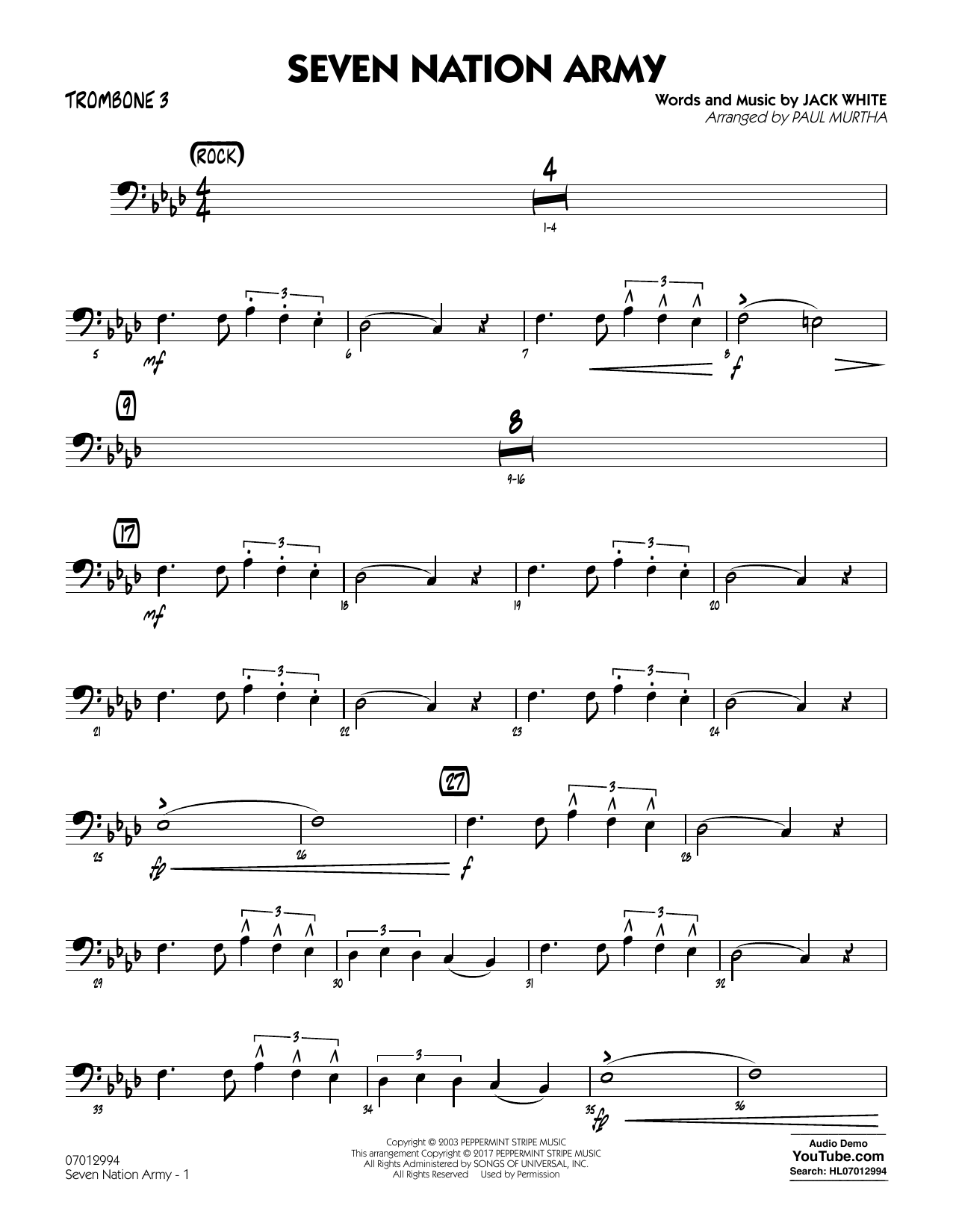Seven Nation Army Sheet Music Ibovnathandedecker
